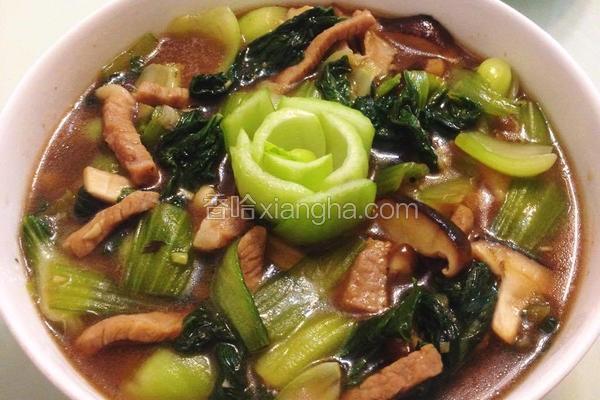 蚝油肉丝炒青江菜