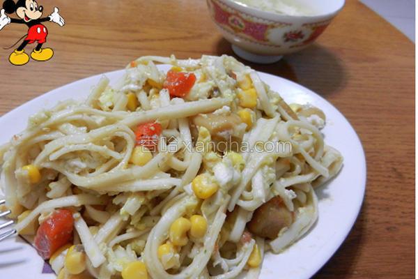 酱火腿磨菇浓汤面的做法