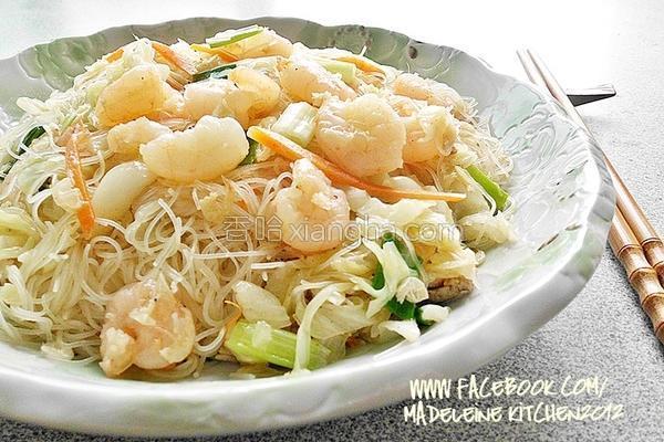 虾仁炒米粉的做法
