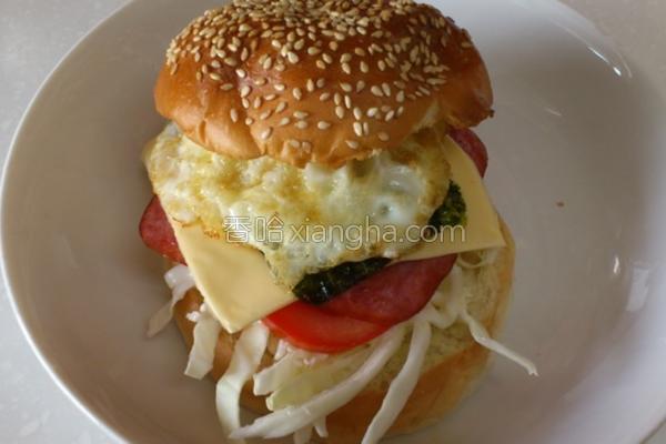 鲜蔬火腿海苔堡的做法