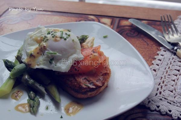 芦笋蒸鸡蛋燻鲑鱼的做法