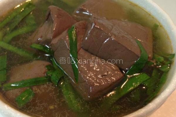 沙茶猪血韭菜汤的做法
