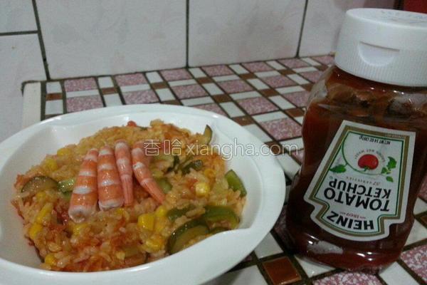 鲜虾蔬食茄汁炖饭的做法