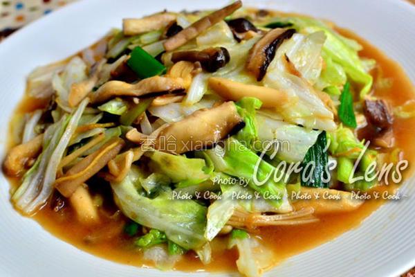 笋酱菇菇炒高丽菜的做法