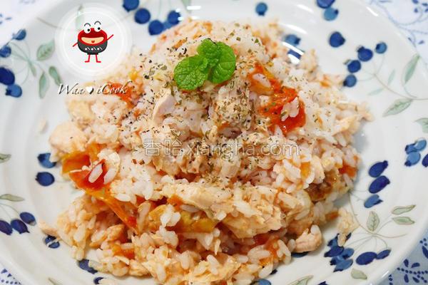 整颗番茄鲑鱼炖饭的做法