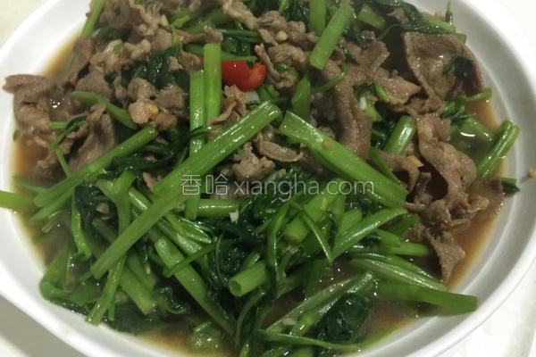 沙茶羊肉空心菜的做法