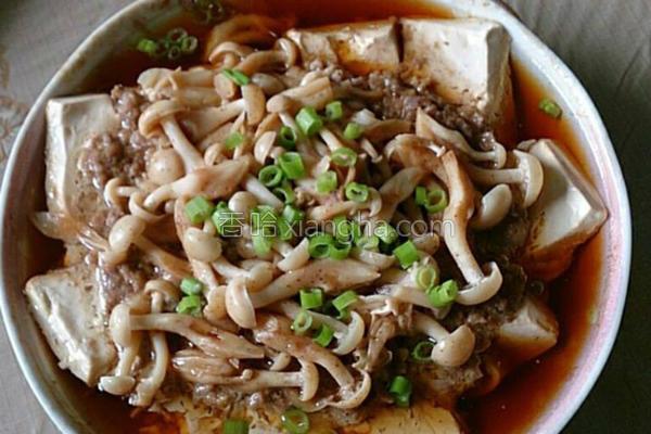 菇菇豆腐蒸肉的做法
