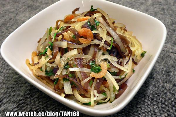 虾米萝卜炒木耳丝