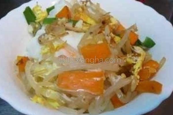 豆芽菜鸡蛋盖饭的做法