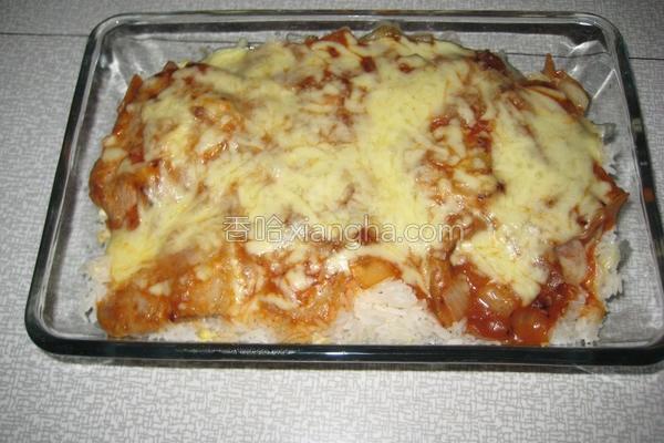番茄芝士焗猪扒饭的做法