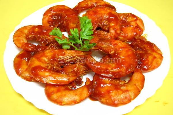 茄汁干烧虾的做法