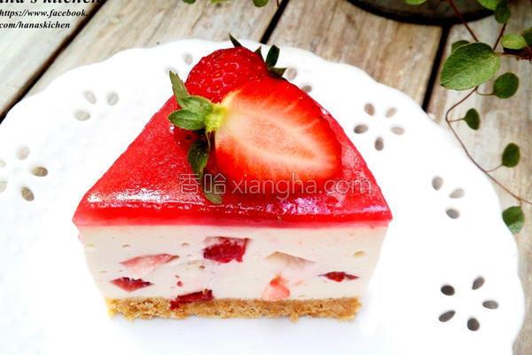 草莓乳酪免烤蛋糕的做法