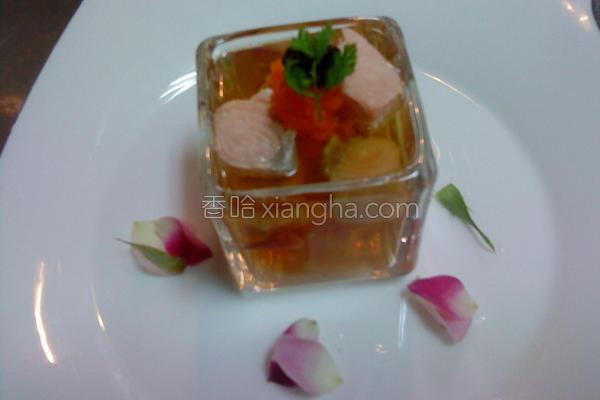 玫瑰花茶鲑鱼冻的做法