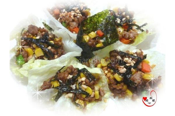 海苔肉末卷的做法