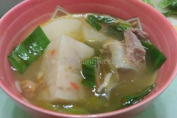 肉酱菜头排骨汤的做法
