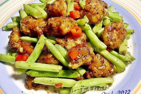 黑胡椒肉角四季豆的做法