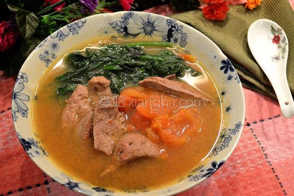番茄猪肝菠菜汤的做法