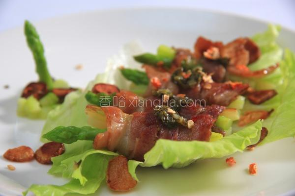 香煎培根绿芦笋卷的做法