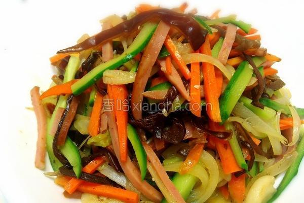 火腿炒四色蔬的做法