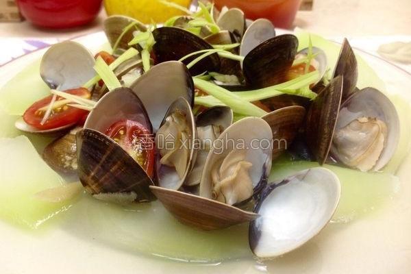 菜心小番茄蒸蛤蜊的做法