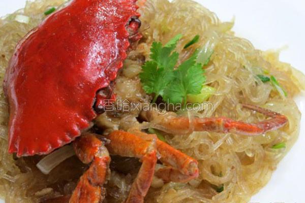咖哩螃蟹粉丝煲的做法