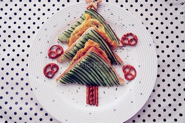 圣诞树三明治的做法