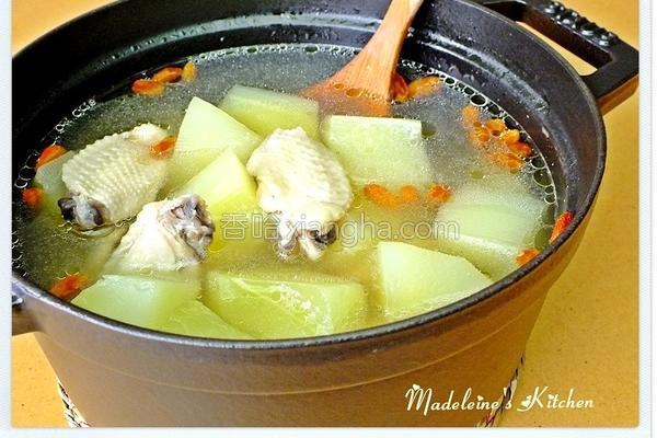 蒜香青木瓜鸡汤的做法