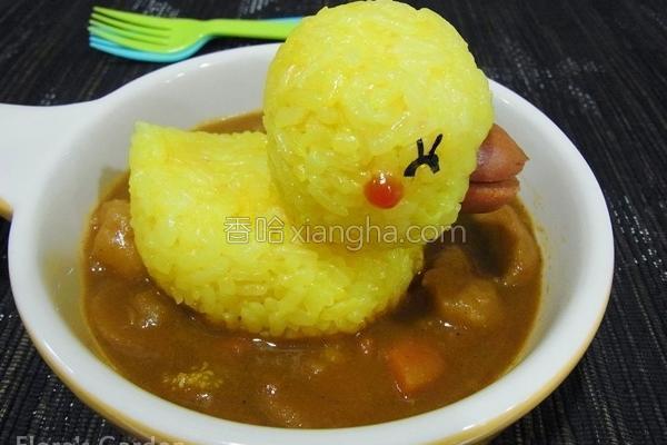 小鸭造型咖哩餐的做法