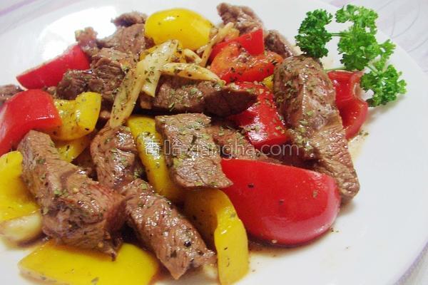 果醋彩椒牛肉的做法