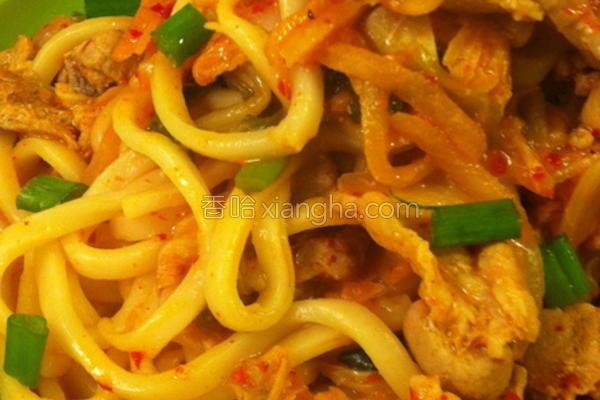 韩式泡菜炒乌龙的做法