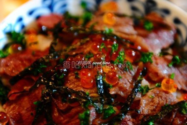 牛小排鲑鱼卵盖饭的做法