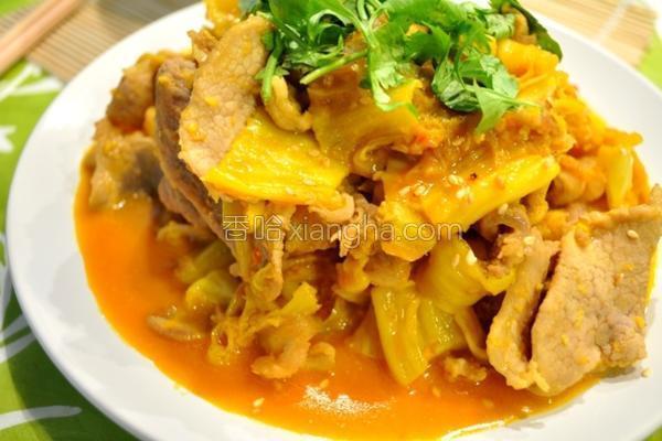 姜黄泡菜炒猪肉的做法