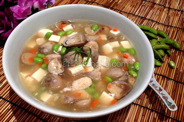 毛豆鸡肉豆腐汤