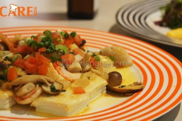 鱼香野菇虾豆腐的做法