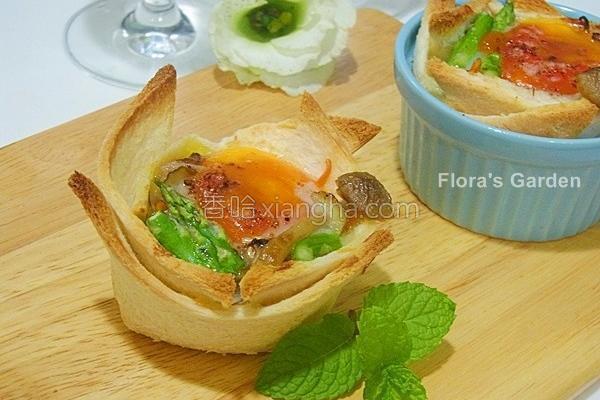 菇菇烤蛋吐司盅的做法
