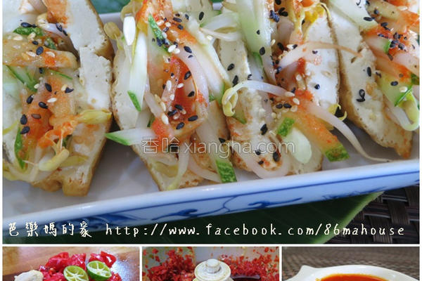 豆腐酿黄瓜豆芽的做法