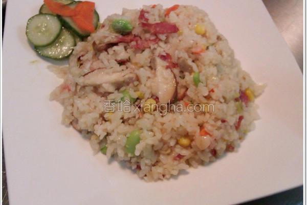 鲜菇培根虾仁炒饭的做法