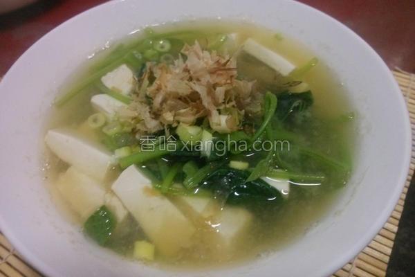 地瓜叶豆腐味噌汤的做法