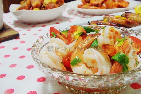 生菜果醋凉拌虾的做法