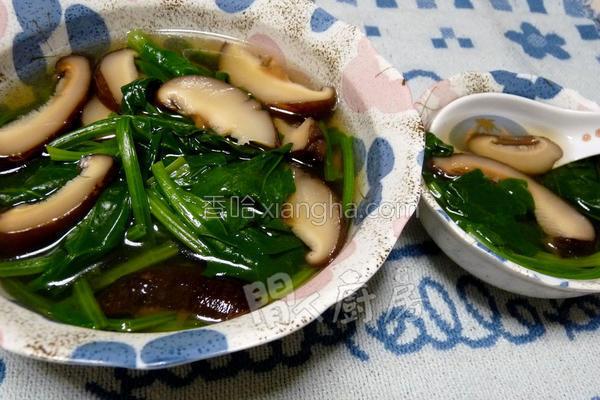 菠菜冬菇汤的做法