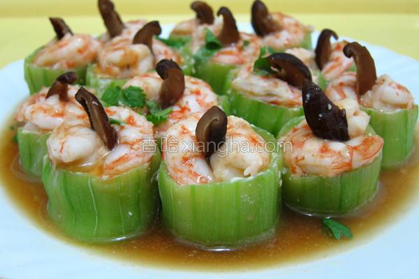 丝瓜盅镶海鲜的做法