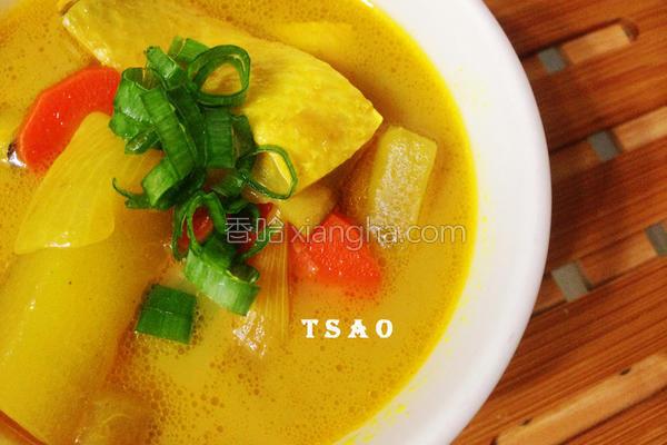 咖哩鱼片汤的做法
