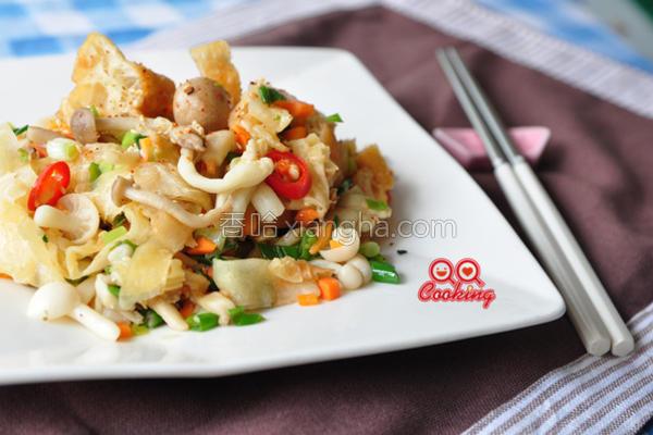 椒盐菇菇炒烧饼的做法