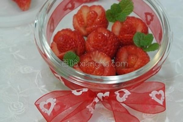 草莓玫瑰花束的做法