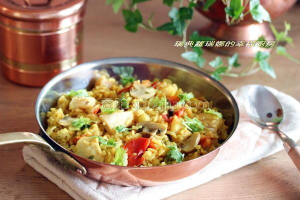 印度咖哩鱼片炖饭的做法