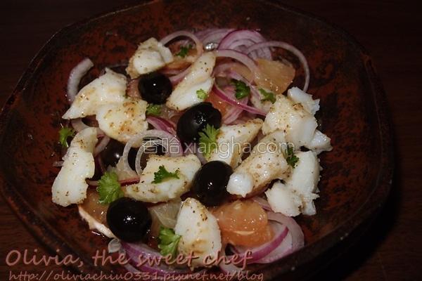 葡萄柚鳕鱼沙拉的做法