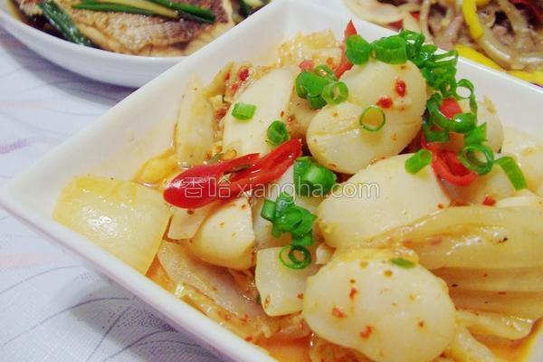 韩式泡菜炒干贝的做法