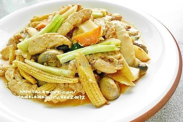 双笋蘑菇炒鸡柳的做法
