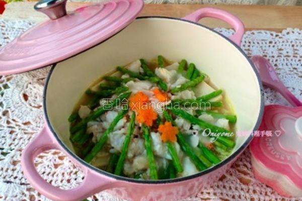 芦荀豆腐扒蟹肉的做法