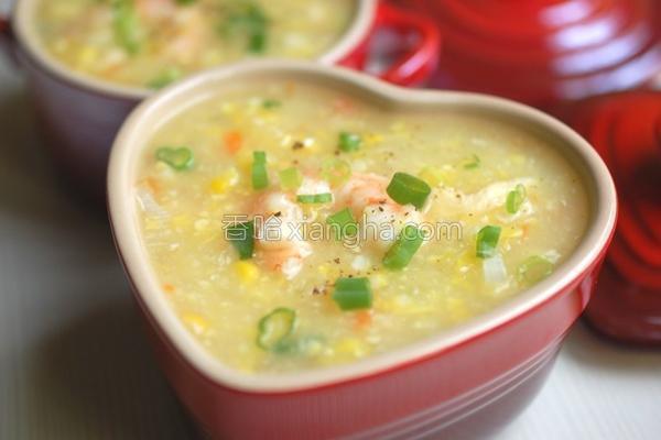 鲜虾玉米浓汤的做法